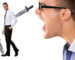 Man screaming at a person. Hatred creates hatred and energetic weapons. Try kindness.
