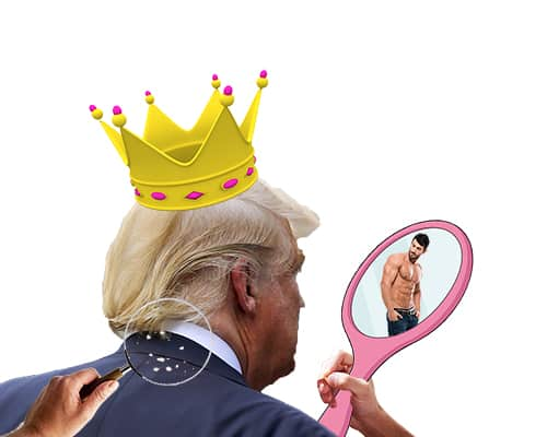 Donald Trump looking into a mirror expressing his self deception of specialness
